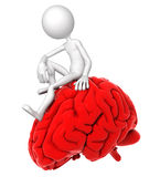 3d person sitting on brain in a thoughtful pose. 3d person sitting on red brain in a thoughtful pose. Isolated on white background Stock Photography