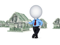 3d person and small house made of money. On white background Stock Photos