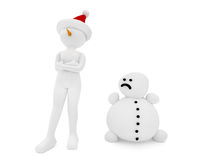 3d person and snowman Royalty Free Stock Photography