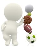 3D person with sport's balls Royalty Free Stock Photos