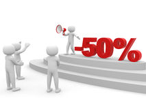 3d person standing next to the text -50%. 3d render Royalty Free Stock Photography