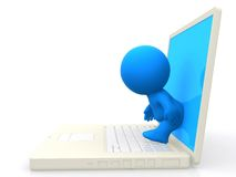 3d person stepping out of a laptop Stock Photography