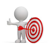 3d person - success target. Red arrow in the center of the target. 3d image. White background Stock Image