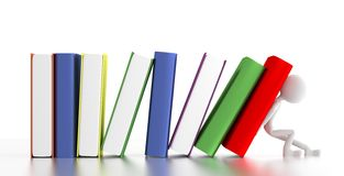 3d person supports falling books. 3d illustration Royalty Free Stock Photography