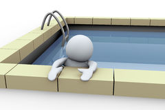 3d person in swimming pool. 3d illustration of man in swimming pool Stock Photo