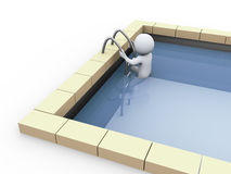 3d person in swimming pool. 3d illustration of man in swimming pool Stock Image
