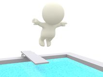 3D person on a trampoline Stock Image