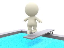 3D person on a trampoline Royalty Free Stock Photos