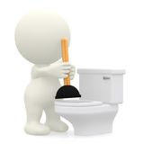 3D person unblocking the toilet Stock Images