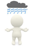 3D person under a rainy cloud Royalty Free Stock Images