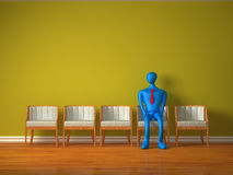 3d person waiting for admission. Alone 3d person waiting for admission Royalty Free Stock Images