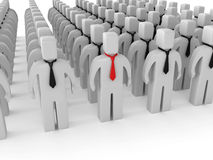 3D person who is different from the others. 3D person with red tie who is different from the others Royalty Free Stock Photography