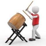 3d personage en trommel. Royalty-vrije Stock Fotografie