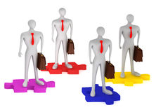 3d persons with briefcases on the puzzles. On a white background Stock Images