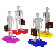 3d persons with briefcases on the puzzles. On a white background Stock Photos