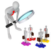 3d persons with briefcases standing on the puzzles. 3d person watching how 3d persons with briefcases standing on the puzzles / 3d icon of the teamwork Royalty Free Stock Images