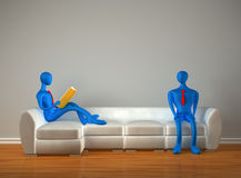 3d persons in the modern interior Royalty Free Stock Photos