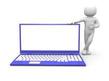 3d persoon en laptop Royalty-vrije Stock Afbeelding