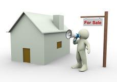 3d persoon - huis voor verkoop Royalty-vrije Stock Foto's
