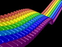 3D perspective rainbow bricks Stock Photography