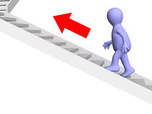 3d a pessoa - fantoche, levantando-se para cima em uma escada ilustração stock