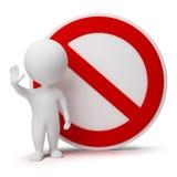 3d petits gens - signe d'interdiction Image libre de droits