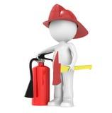 3D peu de caractère humain le chasseur d'incendie Images stock