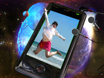 3D phone. A phone, connected to earphones, with a 3D image of a young woman jumping, on a space background royalty free illustration