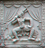 3d photo of engraving. 3D stereo Traditional antique Thai style in the temple (To view this image you need anaglyph  stereo glasses Royalty Free Stock Image