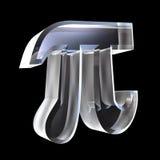 3D Pi symbol in glass. On black Stock Photo