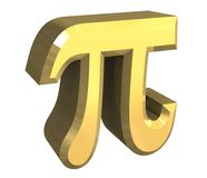 3D Pi symbol in gold Royalty Free Stock Photos