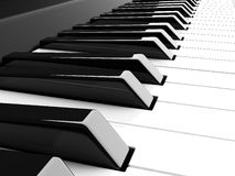 3d piano. Black and white keyboard Royalty Free Stock Images