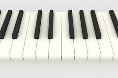 3D piano keyboard. (keys) above view on white (DOF Stock Photography