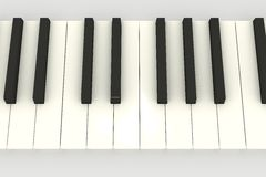 3D piano keyboard. (keys) above view on white Royalty Free Stock Photography