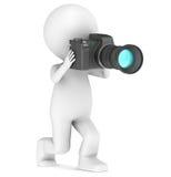 3d piccolo umano catturando una foto illustrazione di stock