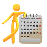 3d pictogram icon standing besides calendar Stock Photo