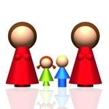 3D Pictogram van Twee -twee-mum Familie Stock Foto's