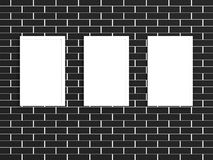 3d picture gallery on a brick wall. 3d picture gallery on a black brick wall Royalty Free Stock Photo