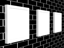 3d picture gallery on a brick wall. 3d picture gallery on a black brick wall Royalty Free Stock Photos