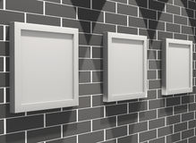 3d picture gallery on a brick wall. 3d picture gallery on a black brick wall Stock Photo