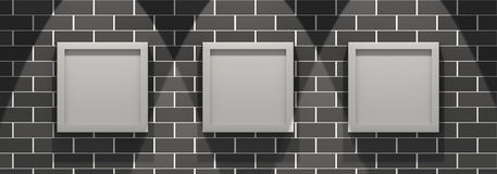 3d picture gallery on a brick wall Stock Images