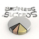 3d Pie char with hand drawn graphic word BUSINESS SUCCESS Royalty Free Stock Images