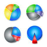 3d pie chart. Collection of 4 vector colorful 3D pie graphs isolated on white background Stock Images