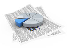 3d pie chart on financial pape. 3d reflective pie chart on the background of financial paper Royalty Free Stock Images