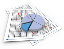 3d pie chart on graph paper. 3d render of pie chart on a paper sheet containing sales graph Stock Photo