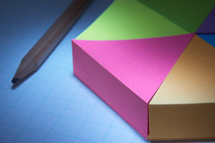 3D pie-chart and pencil. Close up crop of 3D pie-chart and pencil Royalty Free Stock Photos