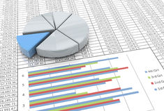 3d pie chart on spreadsheet background Royalty Free Stock Photography