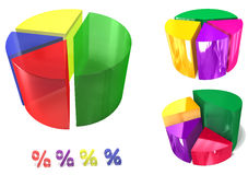 3d pie colorful graph set Royalty Free Stock Images