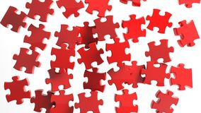 3D pieces of puzzle. Randomly falling isolated on white Stock Photo