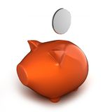 3d piggy bank with coin Royalty Free Stock Images